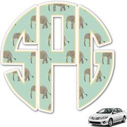 Elephant Monogram Car Decal (Personalized)