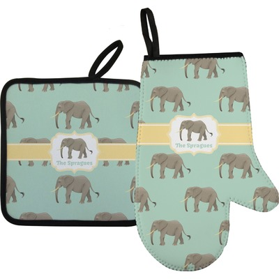Elephant Right Oven Mitt & Pot Holder Set w/ Name or Text