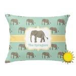 Elephant Outdoor Throw Pillow (Rectangular) (Personalized)