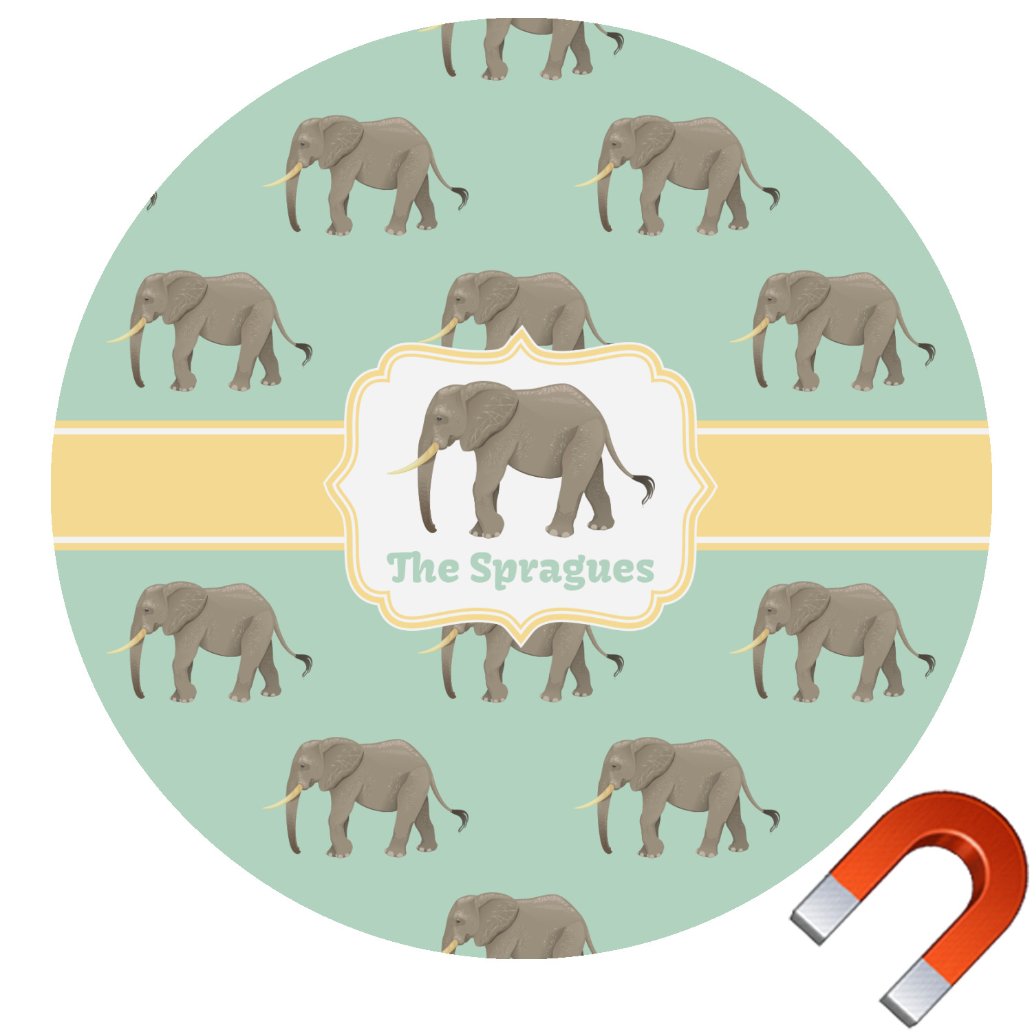 Elephant Round Car Magnet Personalized You Customize It - Make a custom car magnet