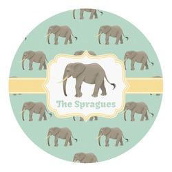 Elephant Round Decal - Custom Size (Personalized)