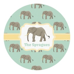 Elephant Round Decal (Personalized)