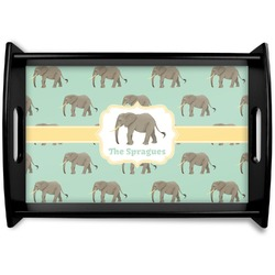 Elephant Black Wooden Tray (Personalized)