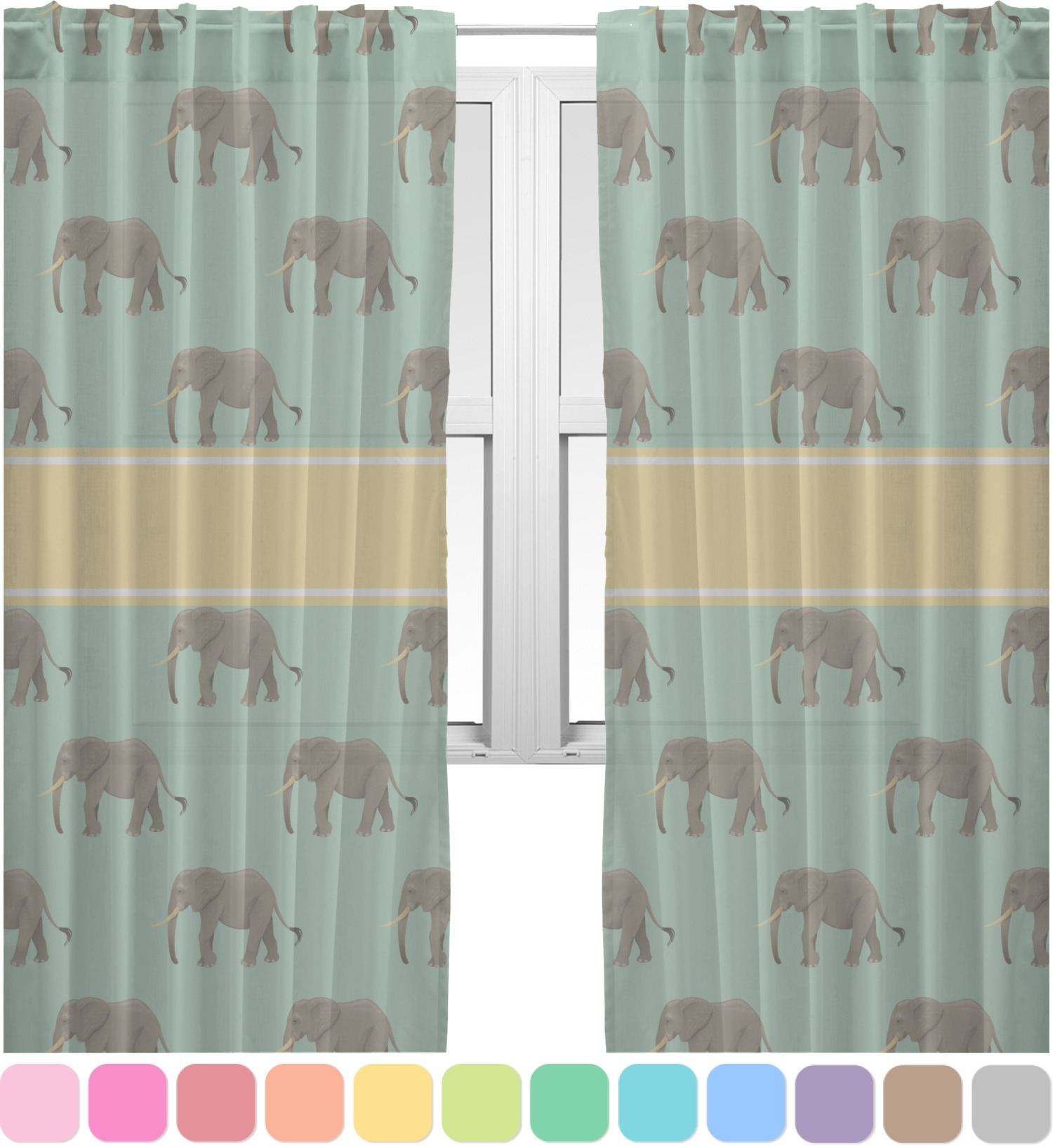 Elephant Sheer Curtains Personalized