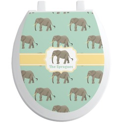 Elephant Toilet Seat Decal - Round (Personalized)