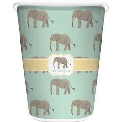 Elephant Waste Basket - Single Sided (White) (Personalized)