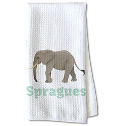 Elephant Waffle Weave Kitchen Towel - Partial Print (Personalized)
