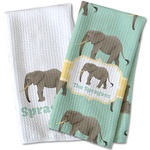 Elephant Waffle Weave Kitchen Towel (Personalized)