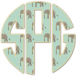 Elephant Monogram Decal - Custom Sized (Personalized)
