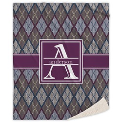 Knit Argyle Sherpa Throw Blanket (Personalized)