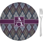 "Knit Argyle Glass Appetizer / Dessert Plates 8"" - Single or Set (Personalized)"