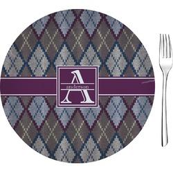 "Knit Argyle 8"" Glass Appetizer / Dessert Plates - Single or Set (Personalized)"