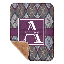 "Knit Argyle Sherpa Baby Blanket 30"" x 40"" (Personalized)"