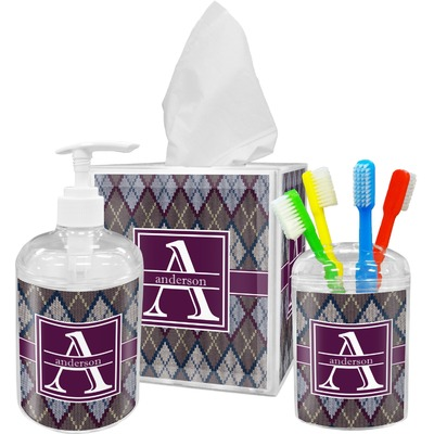 Knit Argyle Acrylic Bathroom Accessories Set w/ Name and Initial