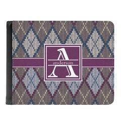 Knit Argyle Genuine Leather Men's Bi-fold Wallet (Personalized)