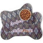 Knit Argyle Bone Shaped Dog Food Mat (Personalized)