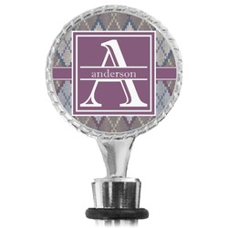 Knit Argyle Wine Bottle Stopper (Personalized)