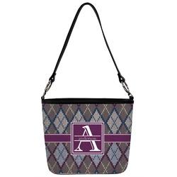 Knit Argyle Bucket Bag w/ Genuine Leather Trim (Personalized)