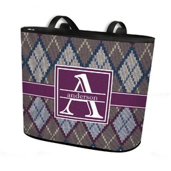 Knit Argyle Bucket Tote w/ Genuine Leather Trim (Personalized)