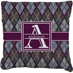Knit Argyle Faux-Linen Throw Pillow (Personalized)