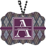 Knit Argyle Rear View Mirror Decor (Personalized)
