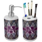 Knit Argyle Ceramic Bathroom Accessories Set (Personalized)