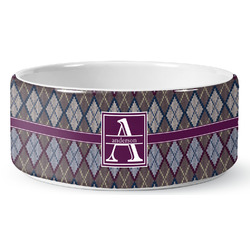 Knit Argyle Ceramic Pet Bowl (Personalized)