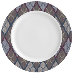 Knit Argyle Ceramic Dinner Plates (Set of 4) (Personalized)