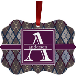 Knit Argyle Ornament (Personalized)