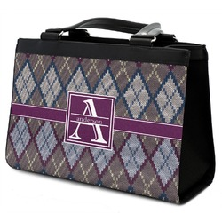 Knit Argyle Classic Tote Purse w/ Leather Trim (Personalized)