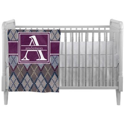 Knit Argyle Crib Comforter / Quilt (Personalized)