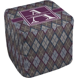 Knit Argyle Cube Pouf Ottoman (Personalized)