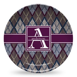 Knit Argyle Microwave Safe Plastic Plate - Composite Polymer (Personalized)