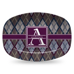 Knit Argyle Plastic Platter - Microwave & Oven Safe Composite Polymer (Personalized)