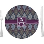 "Knit Argyle Glass Lunch / Dinner Plates 10"" - Single or Set (Personalized)"