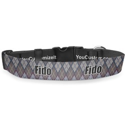 """Knit Argyle Deluxe Dog Collar - Small (8.5"""" to 12.5"""") (Personalized)"""