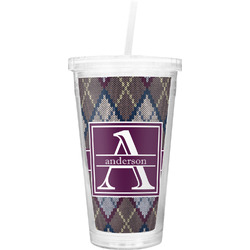 Knit Argyle Double Wall Tumbler with Straw (Personalized)