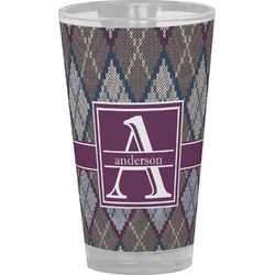 Knit Argyle Drinking / Pint Glass (Personalized)