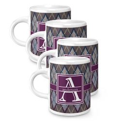 Knit Argyle Espresso Mugs - Set of 4 (Personalized)
