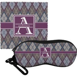 Knit Argyle Eyeglass Case & Cloth (Personalized)