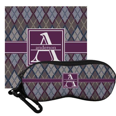 Knit Argyle Eyeglass Case & Cloth (Personalized)