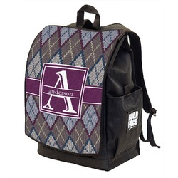 Knit Argyle Backpack w/ Front Flap  (Personalized)