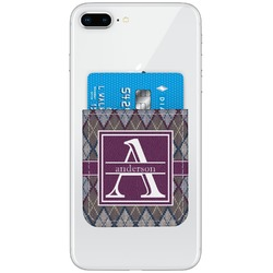 Knit Argyle Genuine Leather Adhesive Phone Wallet (Personalized)