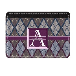 Knit Argyle Genuine Leather Front Pocket Wallet (Personalized)
