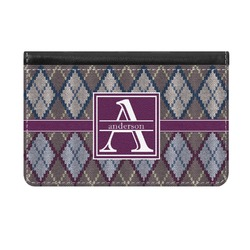 Knit Argyle Genuine Leather ID & Card Wallet - Slim Style (Personalized)