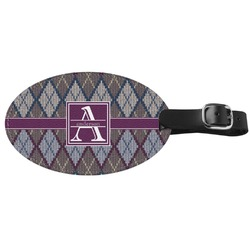 Knit Argyle Genuine Leather Luggage Tag (Personalized)