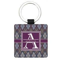 Knit Argyle Genuine Leather Rectangular Keychain (Personalized)