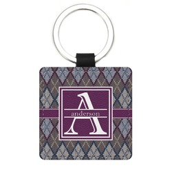 Knit Argyle Genuine Leather Rectangular Keychain (Personalized)