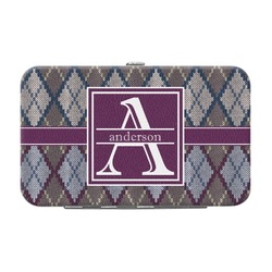 Knit Argyle Genuine Leather Small Framed Wallet (Personalized)