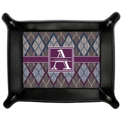 Knit Argyle Genuine Leather Valet Tray (Personalized)